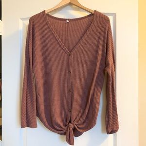 Tops - Waffle Knit Front Tie Top
